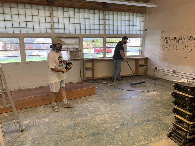 2020-07-14 - Steve O and Ed Installing Shevles in Classroom 1 at Booth