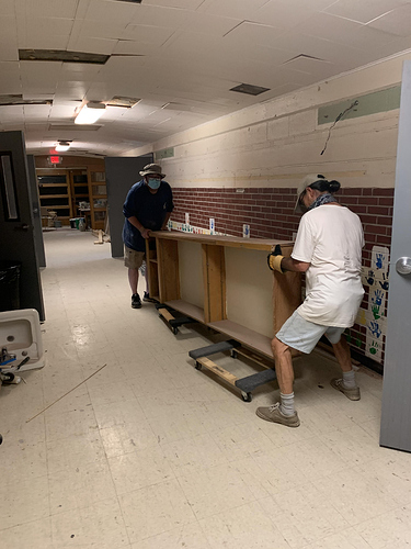 2020-07-14 - Ed and Darryl move cabinets from west hall to Classroom 1 at Booth